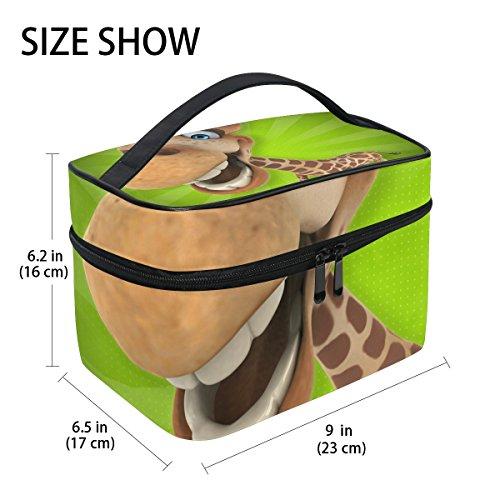 TIZORAX Divertida jirafa dibujos animados bolsa cosméticos