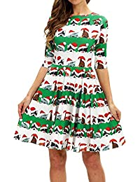 Señoras Vestidos Para Niñas Vestido De Navidad Cachorro De Vintage Gato De Navidad Vestido Corto Vestido