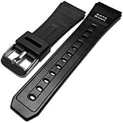 Casio Data Bank Style Black Rubber Resin Watch Strap Band 22mm