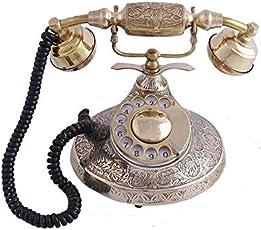 Akhandstore Round Hand Carved Brass Antique Landline Telephone