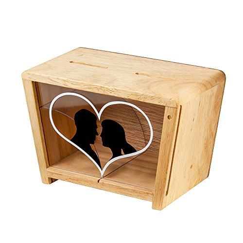 Hucha Transparente Diseño Romántico - Hucha Madera