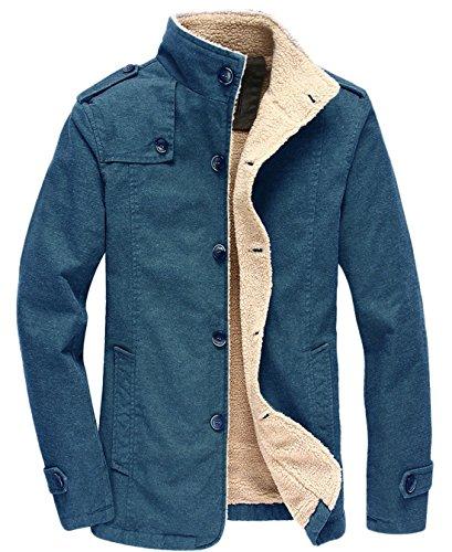 chouyatou Herren Military-Taste Vorderes Sherpa gezeichneter Heavyweight Trucker Jacket Mittel Blau Sherpa-taste