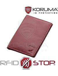 Portefeuille Organiseur bloquant les signaux RFID des cartes de crédit et du biométrique passeport (Rouge)