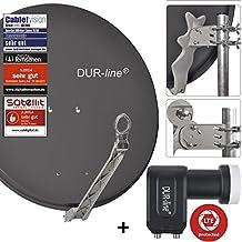 DUR-line 2 Teilnehmer Set - Qualitäts-Alu-Sat-Anlage - Select 75/80cm Spiegel/Schüssel Anthrazit + DUR-line Twin LNB - Satelliten-Komplettanlage - für 2 Receiver/TV [Neuste Technik - DVB-S/S2, Full HD, 4K/UHD, 3D]