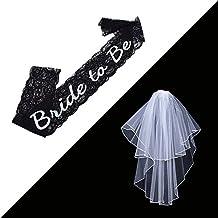 fcarolyn Catedral novia boda codo velo con peine de flores de Rhinestone 2capas y banda de encaje blanco–Bachelorette Party decoración suministros