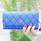 Ouneed® Damen groß Kapazität elegante Krone Luxus Wachs Leder Geldbörsen mit Reißverschluss-Tasche