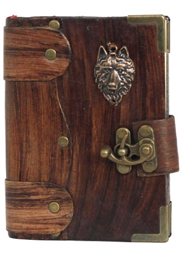 Wolf viso-Ciondolo su un Journal, pelle marrone/taccuino/bloc-notes/diario/blocco per schizzi/fatto a mano/libro/carta persiano/donne/uomini/bambini/cancelleria/carta normale