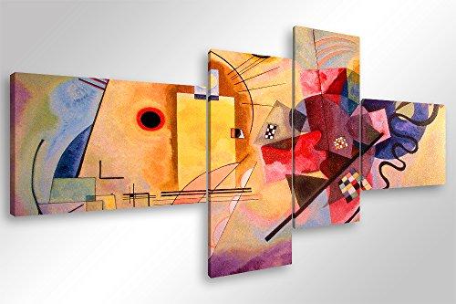 Cuadro moderno Kandinsky, Color amarillo, rojo, azul–160x 70 cm.Impresión sobre lienzo de lona, para decoración, arte, abstracto- trípticos