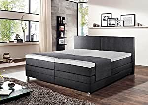 boxspringbett boxspring boxspringsystem bett springboxbett boxbett grau elektrisch. Black Bedroom Furniture Sets. Home Design Ideas