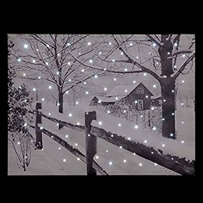 Snowtime Fibre Optic Wall Canvas Country House Snow Scene #FB00312 - cheap UK light shop.