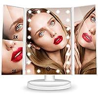 HAMSWAN LED Beleuchtete Kosmetikspiegel Faltbare 180 Grad Drehbare 1/2/3 Lupe USB Lade Batteriebetriebene für Frauen / Maskenbildner
