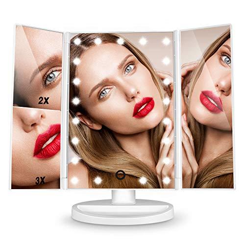 Espejo de Mesa, [Regalos Originales] HAMSWAN Espejo de Maquillaje Tríptico con Aumentos 1x, 2x, 3x, Espejo Cosmético Pantalla Táctil en Iluminacíon 21 Led, Carga con USB o Batería, Adjustable 180º