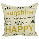Luxbon you are my sunshine Liedtext Kissenbezug Wurfkissenbezug Pillowcase Haus Cafe Auto Deko 45 x 45 cm