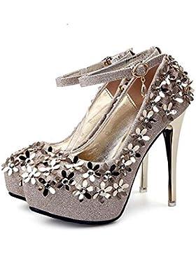 Pompino 12 centimetri Stiletto punta punta Ankel Strap tacchi alti Scarpe da sposa Donne Donne Charming Floral...