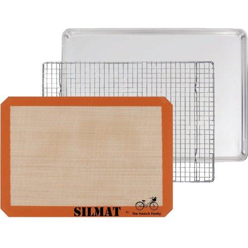 3-teiliges Backgeschenkset - Aluminium Backblech, SILMAT Silikon Backmatte & Edelstahl-Rost zum Auskühlen