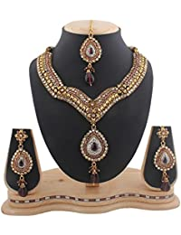 Variation Ethnic Designer Maroon Gold Plated Jewellery Necklace Set With Maangtikka-VD10338
