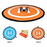 Kingwon RC Drone Quadcopter Helicopter 30' Landing Pad Collapsible Helipad Dronepad Launch Pad with Carrying Bag for DJI Spark Mavic Pro Phantom 2 3 4 Inspire 1 Yuneec Typhoon Outdoor Accessories 75cm 30inch