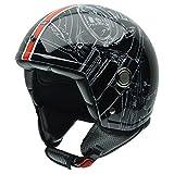 NZI Tonup Graphic Casco da Moto, Nero/Arancione, 58