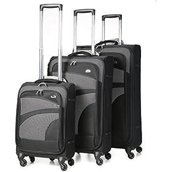 """Aerolite Super Lightweight 4 Wheel Spinner Suitcase Travel Trolley 3 Piece Luggage Set (21"""" Cabin + 26"""" + 29"""", Black/Grey)"""