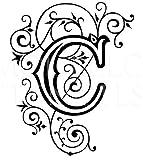 Donass 1x Monogramm Single Kalligraphie Stil Buchstabe Vinyl Aufkleber Hochzeit bis 28cm Höhe und 19cm Länge
