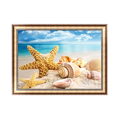 Wenwenzui 40X30Cm Seaside Landscape DIY Diamond Painting Charming Cross Stitch Painting Multi-Color Mixed -