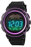 Solaruhr Herrenuhr Sportuhr 5ATM Wasserdicht Outdoor Armbanduhr Analog Digital Sonnenenergie Militär LED