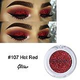 Glitzer Lidschatten, KISSION 8 Farbe Fine Glitter Dust Lidschatten Pulver Palette Matte Lidschatten Kosmetik Make-Up (#107 Heißes Rot)