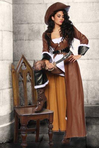 Piraten-Kostüm - braun/weiß/schwarz - (Stiefelstulpen Kostüme Machen)