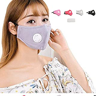 With a breathing valve PM 2.5 Dust Mask Washable Anti-fog Anti Dust Face Mouth Warm Mask Antibacterial Activated Carbon Mask Mask-pack of 4 pcs