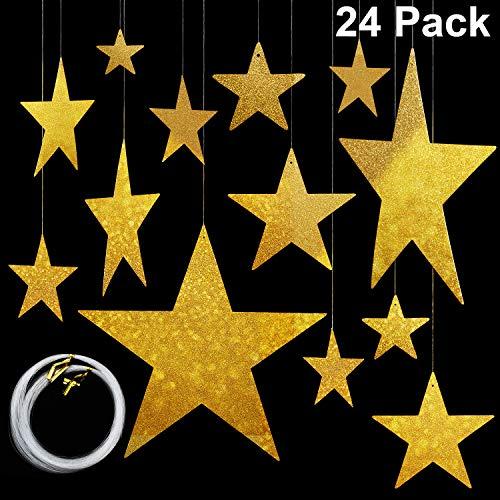 Maitys 24 Paquetes Cortes de Estrella Dorados Estrellas de Cartulina Estrellas Colgantes de Papel Aluminio Brillante (6cm/12cm/20cm/30cm) y 50m Línea de Abalorios de Nylon