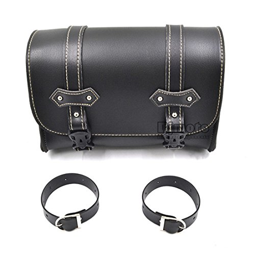 BJ Global nuevo negro Universal de piel sillín para bicicleta motocicleta equipaje bolsa de almacenamiento para Harley Davidson