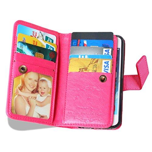 Etsue für iPhone SE/iPhone 5S Rose Rot Leder Schutzhülle Case, 9 Kartenfächern Retro Vintage Premium Wallet Book Stil Hülle Flip Case Magnetverschluss Standfunktion Ledertasche Case Tasche Silikon Bac Hot Pink