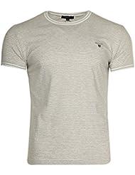Gant Hommes T-Shirts Gris clair/Blanc Narrow Stripe 254113-94