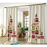 GWELL Kinderzimmer Gardinen Vorhang Weihnachten Ösenschal Dekoschal für Wohnzimmer Schlafzimmer 1er-Pack 240x130cm(HxB) Muster-1