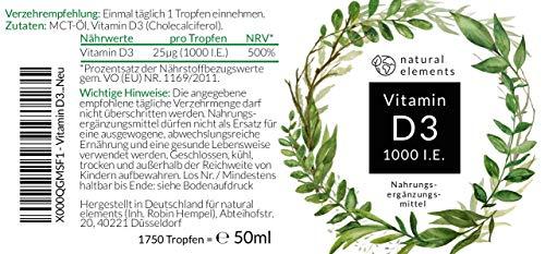 Vitamin D3 – Laborgeprüft – Zertifiziert – 1000 I.E. pro Tropfen – 50ml (1750 Tropfen) – In MCT-Öl aus Kokos – Hochdosiert und hergestellt in Deutschland - 7