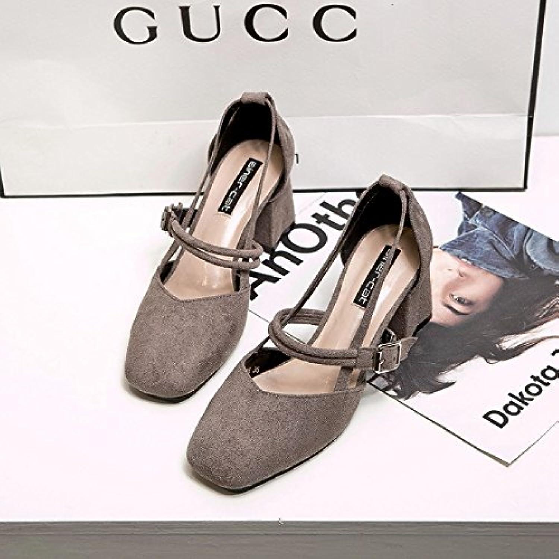 Zapata único _ zapatos de mujer con negrita satinado hueco cuadrado de tacón alto, gris 35