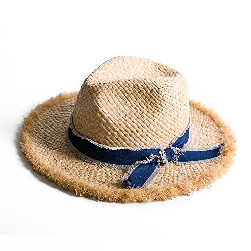 - / Sommer-Jazz-Hut-natürlicher materieller Sonnenhut-Strohhut-Kappen-Raffiabast,Wahre Farbe,56-58cm ()