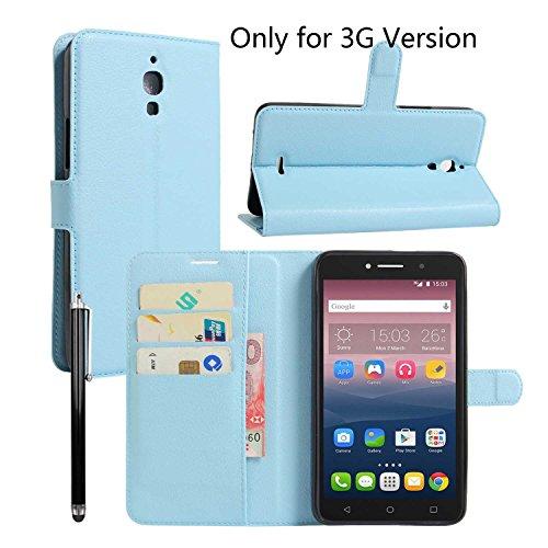 Owbb Folio Brieftasche Ledertasche für Alcatel Onetouch Pixi 4 (Nur für die 3G-Version) 6.0 Zoll Smartphone mit Ständerfunktion und card holder-Blau (Touch Alcatel Für One Telefon-abdeckung)