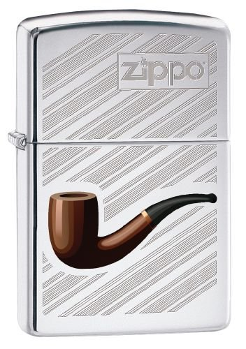 Zippo Feuerzeug 60002630 PL Pipe with Background Benzinfeuerzeug, Messing, high Polish Chrome, 1 x 3,5 x 5,5 cm