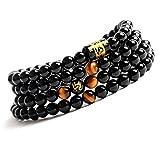 COAI® 6mm Tigerauge und Schwarzer Onyx Tibetisches Gebetskette Malakette Wickelarmband/Halskette