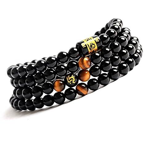 COAI® Tibetan Tiger Eye and Black Onyx Wrap Mala Bracelet/Necklace 6