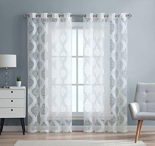 HLC. ME Adel Damast Ausbrenner Fenster Sheer Voile Vorhang Tülle Panels-Set von 5,1-213,4cm & 243,8cm Zoll, weiß, 52