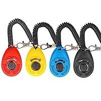 Diyife - 4 clickers multicolores pour chien - Clicker d'entrainement avec dragonne pour chien, chat, cheval