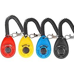 Diyife - Clicker de chien, [4 PCS, multicolore] dressage pour chien, Clicker de formation Diyife avec dragonne pour cheval, chat et chien