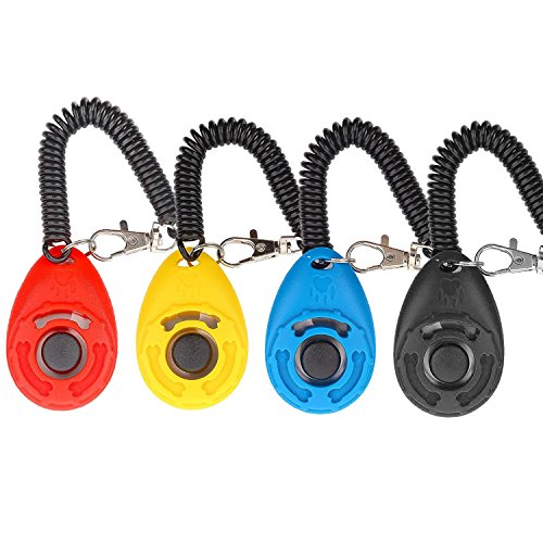 Dog Clicker, [4 PCS, Multi-Color] Diyife Training Clicker with Wrist Strap for Dog Cat Horse,