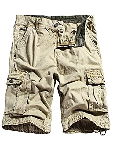 WenVen Men's Cotton Cargo Shorts Outdoor Wear Lightweight Khaki 34