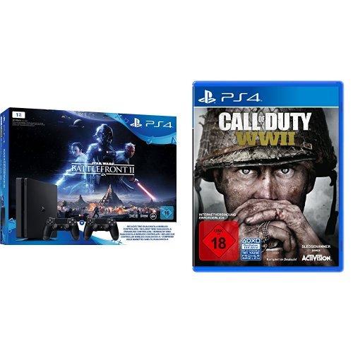 PlayStation 4 - Konsole (1TB, schwarz, slim) inkl. StarWars Battlefront II + 2 DualShock Controller  + Call of Duty: WWII