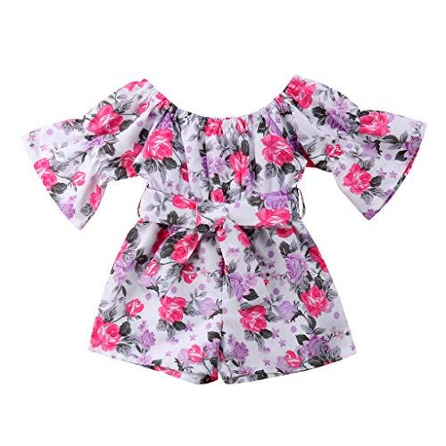 Sanahy Säuglingskleinkind-Baby-Mädchen-Overalls einteiliges langes Hülsen-Schulter-Bund-ethnischer Blumendruck-Spielanzug-Outfits -