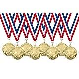 Medailles met lint kinderfeestje voetbal - 8 stuks - Ø 5cm - van metaal!