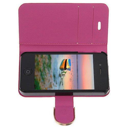 D9Q Bling PU Leder Flip Wallet Card Magnetische Case Cover Protector Fall Hülle für Apple iPhone 5 5S !!Rose